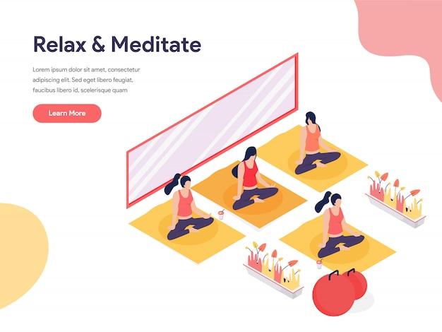 Ontspan en mediteer isometrische illustratie