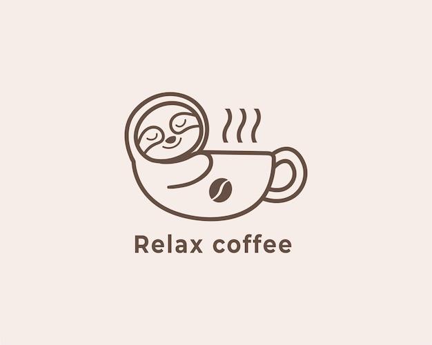 Ontspan koffie luiaard logo-ontwerp