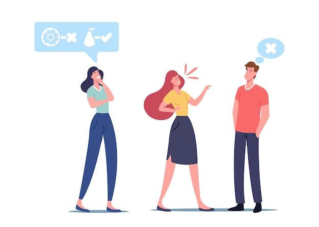 Ontspannen vreedzaam vrouwelijk personage kijken naar collega's ruzie kalm blijven. mentaal evenwicht en zelfbeheersingsconcept