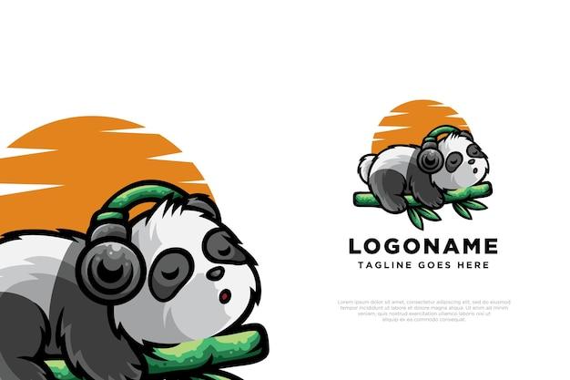 Ontspannend panda-logo-ontwerpkarakter