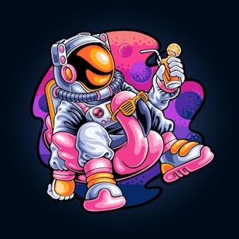 Ontspannende astronaut op de ruimte