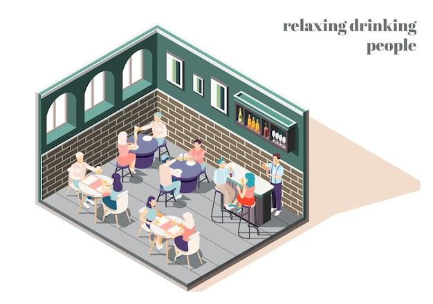 Ontspannende en drinkende mensen in bar isometrisch concept met illustratie van vrijetijdssymbolen