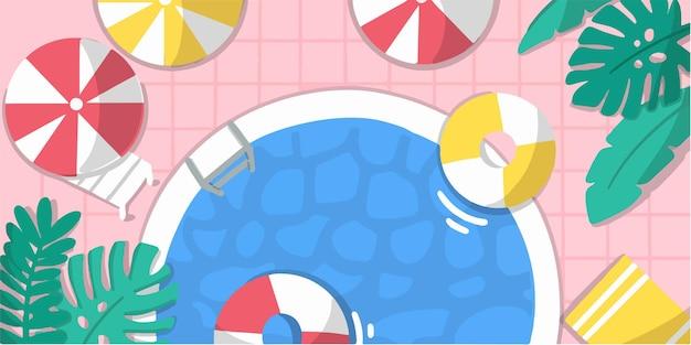 Ontspannende zomerzwembad banner doodle illustratie