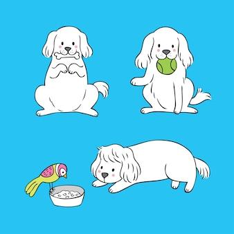 Ontspant de leuke witte hond van het beeldverhaal.