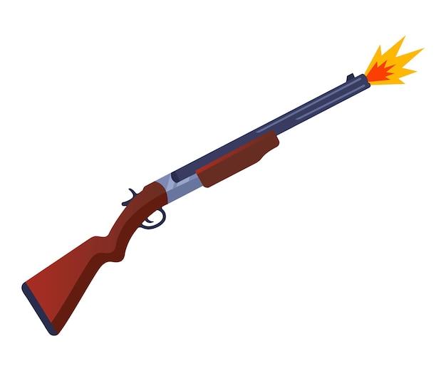 Ontsproten uit een kanon op een jacht. een schot van een wapen op een doel. platte vectorillustratie.