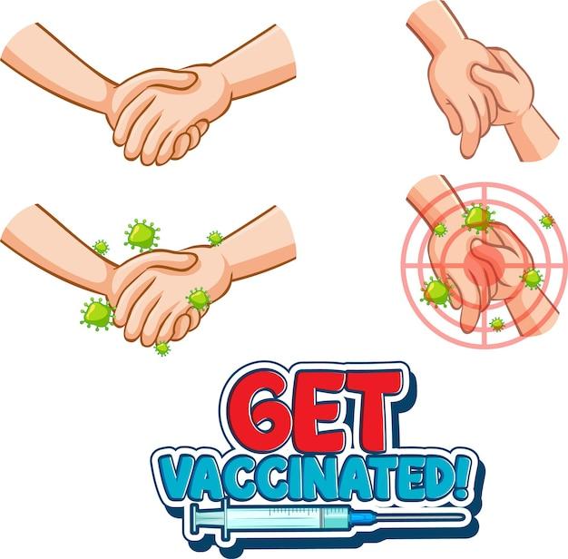 Ontvang een gevaccineerd lettertype in cartoonstijl met de handen bij elkaar