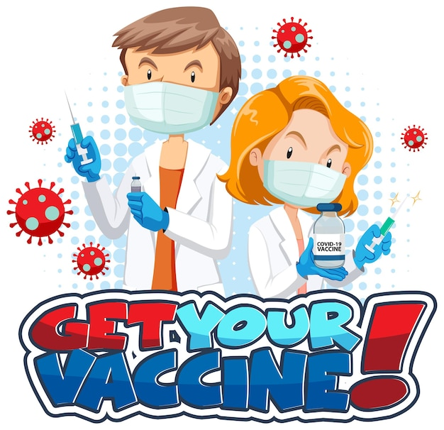 Ontvang uw vaccin-lettertypebanner met stripfiguur van de arts