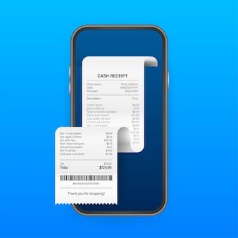 Ontvangstbewijs voor smartphonescherm. betaal belasting online kwitantie visitekaartje voor mobiele app. mobiele bank-app. illustratie.