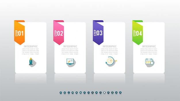Ontwerp business vier optie infographic grafiekelement.