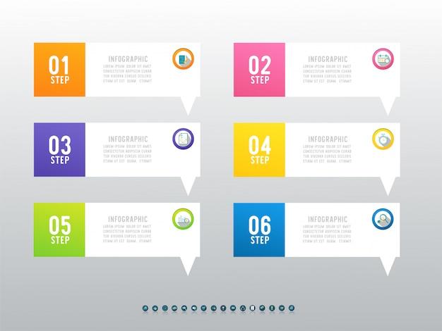 Ontwerp business zes optie infographic grafiekelement.