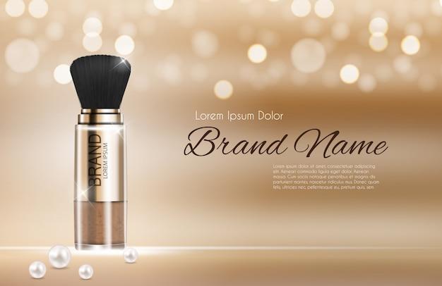 Ontwerp cosmetica product poeder sjabloon voor advertenties.
