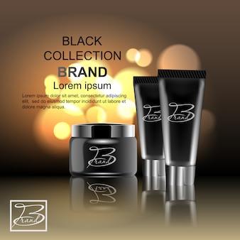 Ontwerp cosmetica reclame product op een zwarte achtergrond. sjabloon, leeg, voor uw ontwerp.