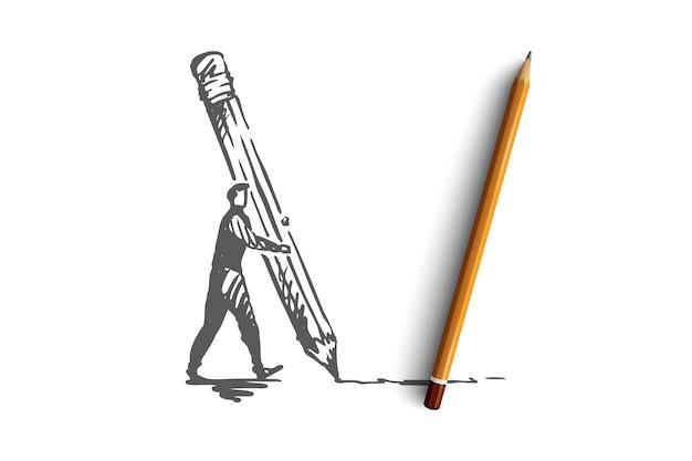 Ontwerp, creatief, grafisch, ontwikkeling, interfaceconcept. hand getekende persoon tekenen met concept potloodschets.
