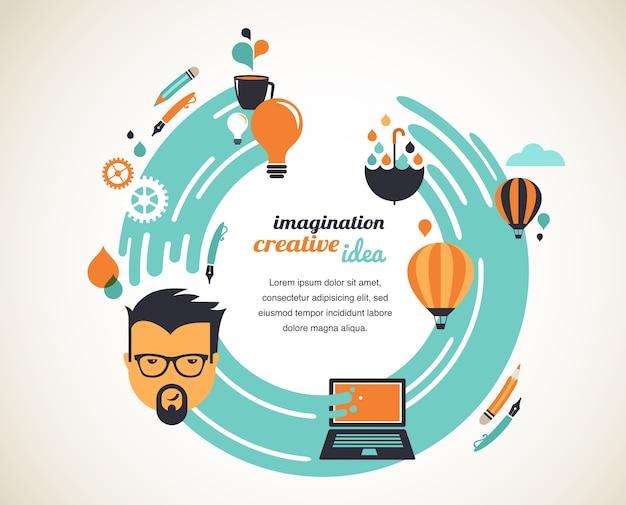 Ontwerp, creatief, idee en innovatieconceptenillustratie