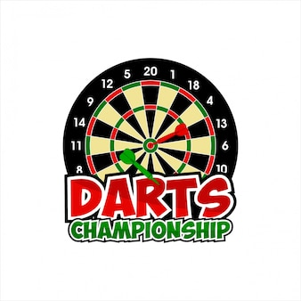 Ontwerp darts championship-logo Premium Vector
