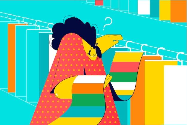 Ontwerp, decoratie, keuze, winkelen, werkconcept. jonge nadenkend doordachte vrouw ontwerper decorateur karakter kiest stoffen voor gordijnen of kussens in textielwinkel. selectiemateriaal of vloerbedekking