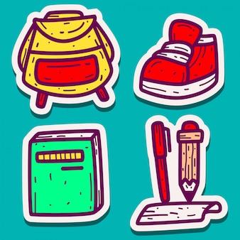 Ontwerp doodle stickers terug naar school
