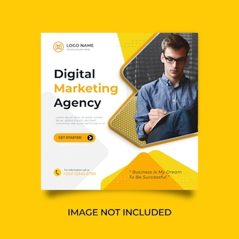 Ontwerp een social media- en instagram-postsjabloon voor een digitaal marketingbureau