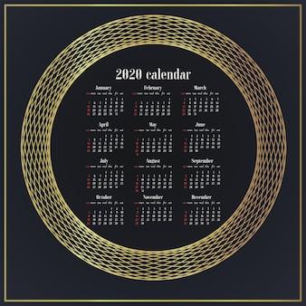 Ontwerp eenvoudig de bureaukalender van het jaarsjabloon 2020.
