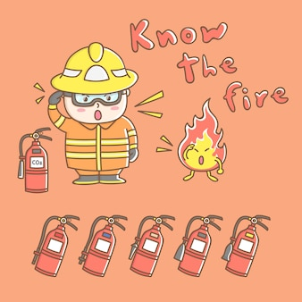 Ontwerp elementen vector van schattige brandweerman stripfiguur in brandbestrijding operatie.