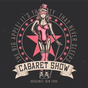 Ontwerp embleem van cabaret danseres meisje