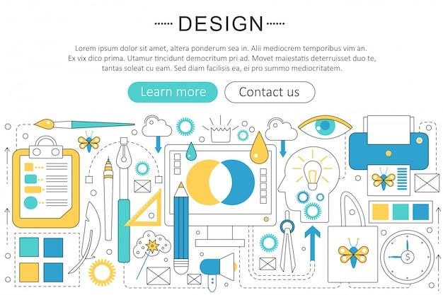 Ontwerp en kunst platte lijn concept