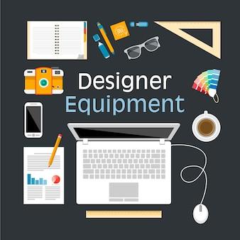 Ontwerp equipment vlakke illustratie