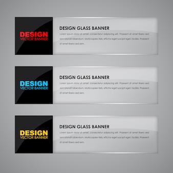 Ontwerp glazen banners met tekst