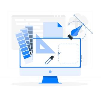 Ontwerp hulpmiddelen concept illustratie