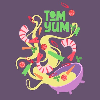 Ontwerp. illustratie streetfood tom yum