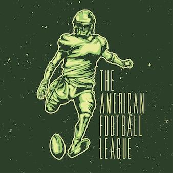 Ontwerp illustratie van amerikaanse voetballer