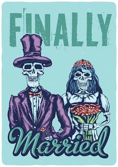 Ontwerp illustratie van dode bruid en bruidegom