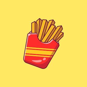 Ontwerp illustratie van heerlijke franse frietjes in kartonnen verpakking geïsoleerd.