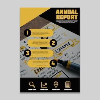Ontwerp jaarverslag met handschrift