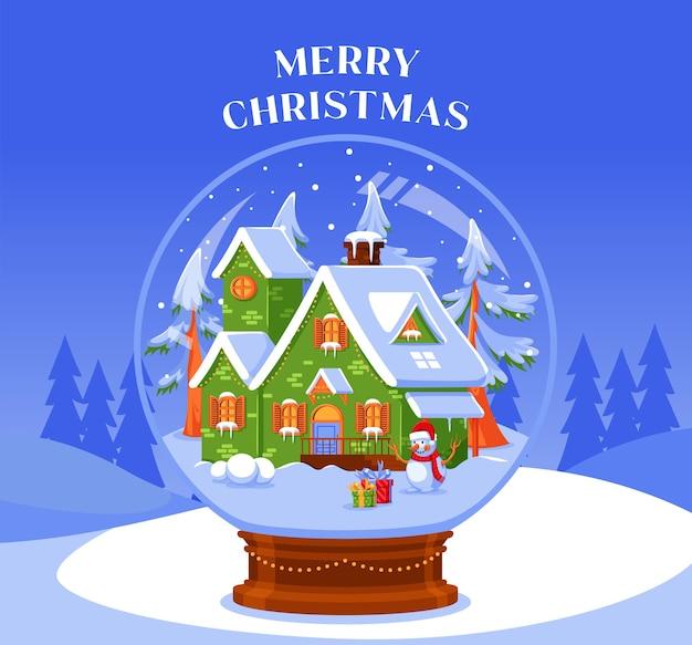 Ontwerp kerst sneeuwbal globe illustratie plat ontwerp