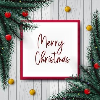 Ontwerp kerstmis met decoratie op houten achtergrond
