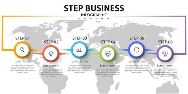Ontwerp labels in 6 stappen infographics voor bedrijfsconcepten.