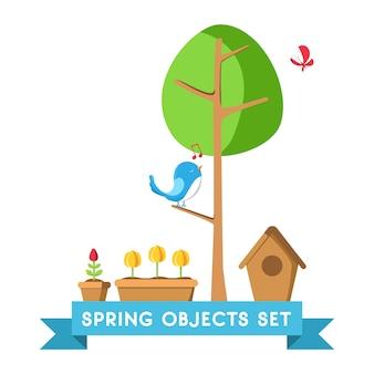 Ontwerp lente-objecten set poster met boom, pot, grond, tulp, vogelhuisje en vele andere objecten
