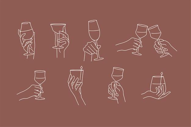Ontwerp lineaire sjabloon tekenen of emblemen handen in verschillende gebaren glas drank