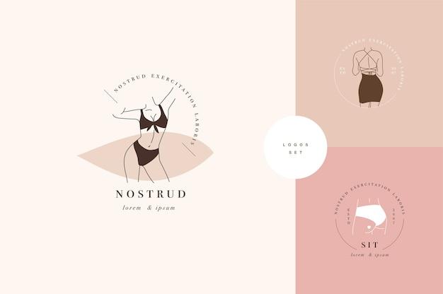 Ontwerp lineaire sjabloonlogo's of emblemen - anonieme dame. vrouwelijke logo's voor lingerie of kleding.