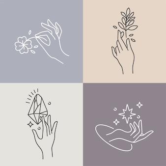 Ontwerp lineaire sjabloonlogo's of emblemen handen in verschillende gebaren