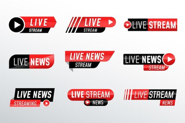 Ontwerp live streams nieuwsbanners