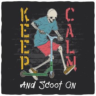 Ontwerp met afbeelding van een skelet op een scooter