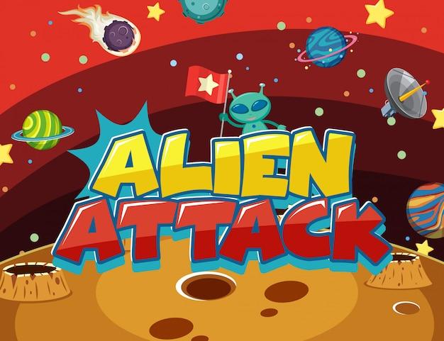 Ontwerp met alien en vele planeten in de ruimte achtergrond cartoon