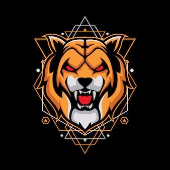 Ontwerp met angry tiger op geometrie
