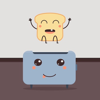 Ontwerp met brood en broodrooster karakter. cartoon vectorillustratie.
