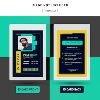 Ontwerp met donkere identificatie of identiteitskaartsjabloon voor office
