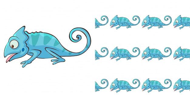 Ontwerp met naadloos patroon blauw kameleon