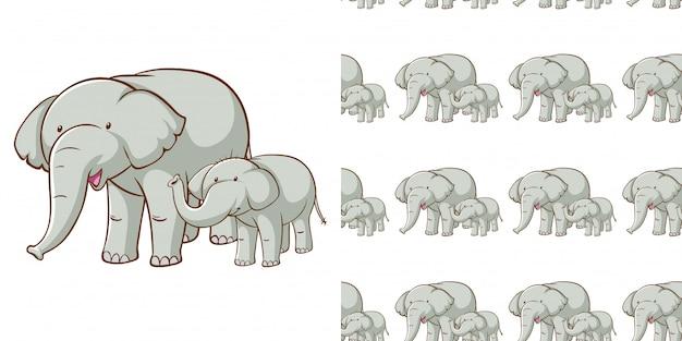 Ontwerp met naadloze patroon grijze olifant