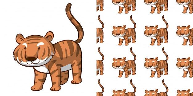 Ontwerp met naadloze patroon schattige tijger